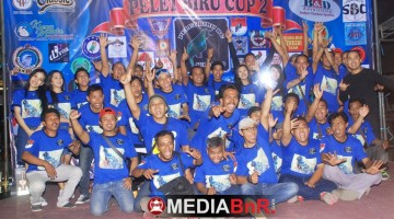 Kegembiraan tim Pelet Biru nampak saat usai gelaran Pelet Biru Cup 2