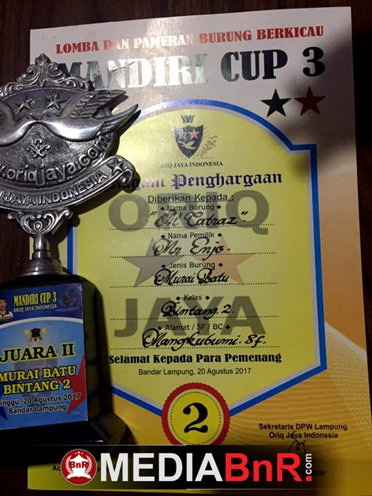 Perdana Tampil Di Event Besar Murai Batu Al Catras Besutan Heru Elthano Raih Runner Up