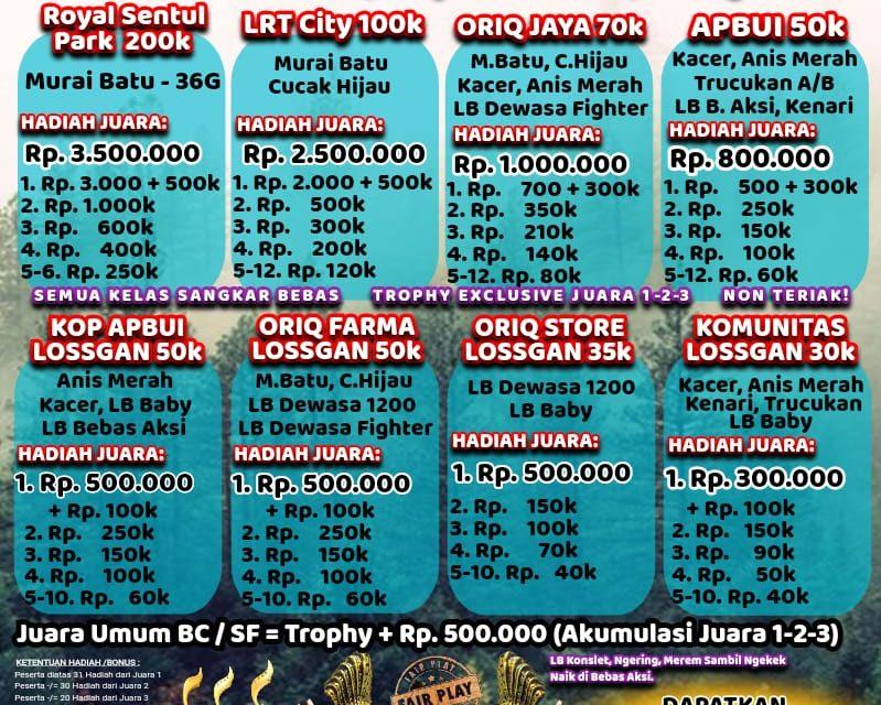 Jelang Soft Launching LRT City Sentul Bird Contest – Dibuka Hari Kamis, Bertabur Hadiah & Doorprize