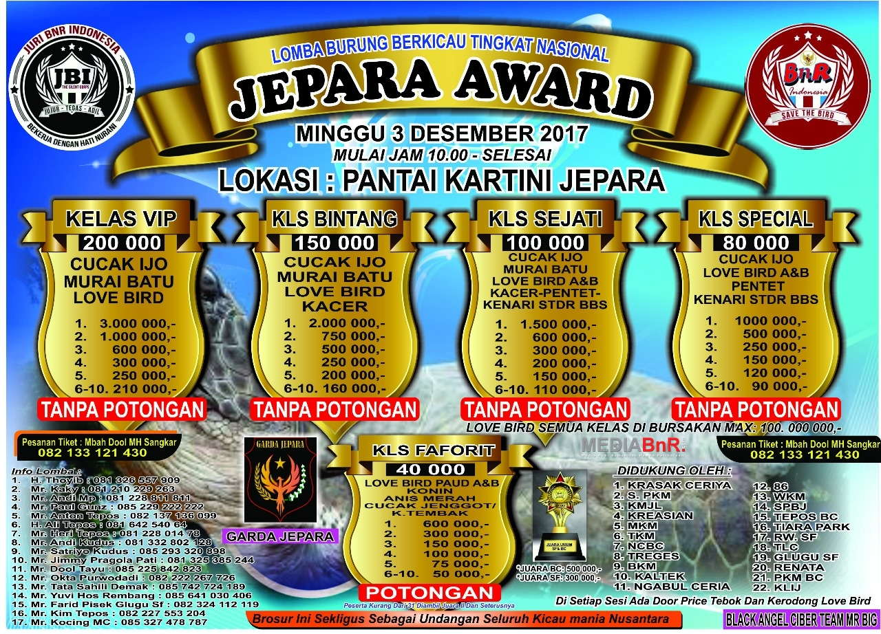 Brosur lomba BnR - JEPARA AWARD 3 Desember 2017