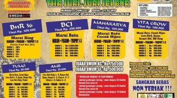Brosur lomba burung kicau THR Juri-Juri BnR Mahakrya Indonesia