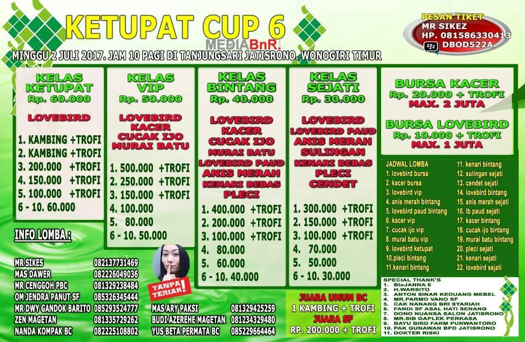 Brosur lomba burung kicau ketupat cup 6 wonogiri 2 juli 2017