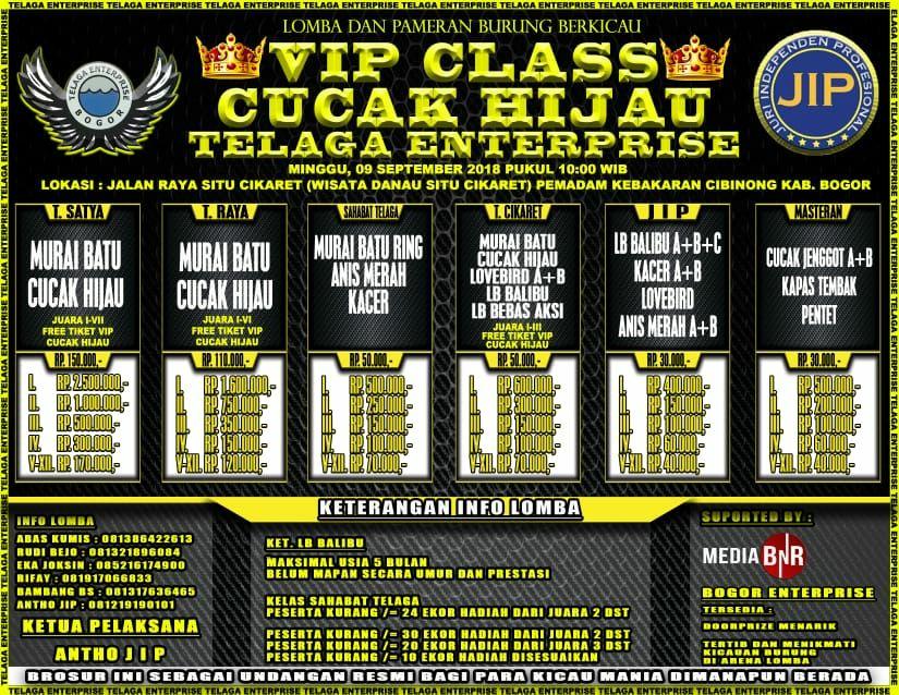VIP CLASS Cucak Hijau 09 September 2018, Cuma Ada Di JIP