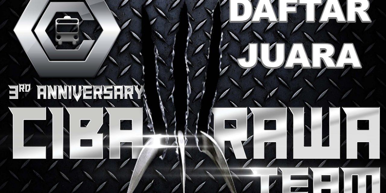 DAFTAR JUARA ANIVERSARY CIBARAWA KE 3 – SABTU, 11 AGUSTUS 2018