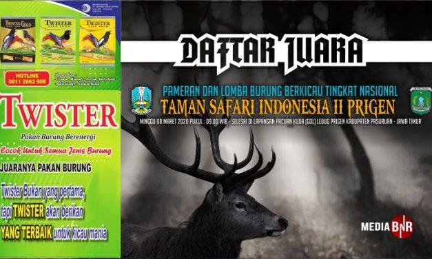DAFTAR JUARA TAMAN SAFARI INDONESIA II PRIGEN (08/03/2020)