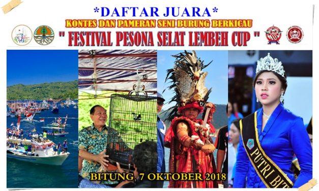 Daftar Juara Festival Pesona Selat Lembeh CUP Bitung (7/10/2018)