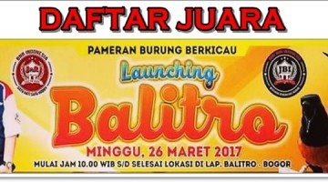 Daftar Juara Balitro