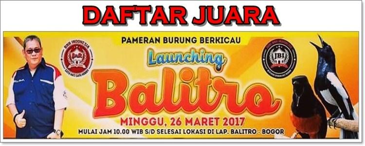 Daftar Juara Grand Opening BnR Balitro (26/3/2017)