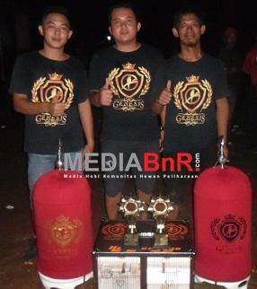 HJ (Harapan Jaya) love bird milik Iwan Sastro dari Genesis BC Palembang, tampil meyakinkan rebut juara ke-1 dan 2 di BnR  Award 2017