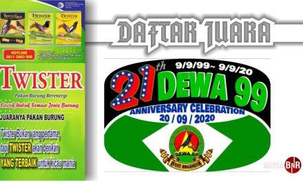 DAFTAR JUARA Anniversary Celebration 21 Dewa 99 (20/09/2020)