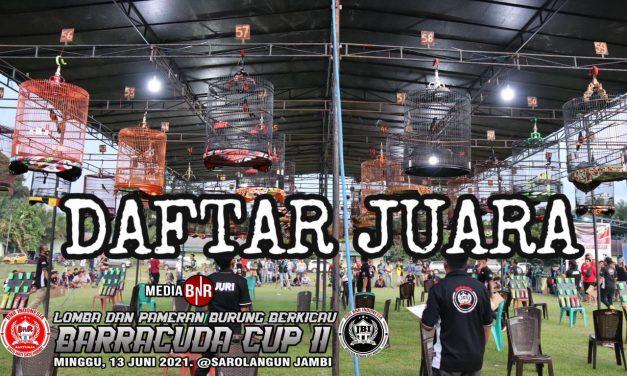 DAFTAR JUARA BARACCUDA CUP I1,SOROLANGUN,13 JUNI 2021