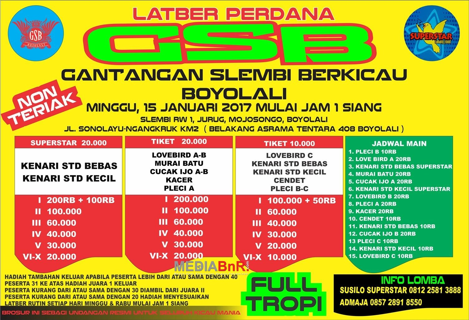 Latber Perdana GSB Boyolali 15 Januari 2017