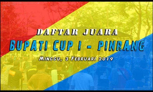 Daftar Juara Bupati CUP I Pinrang – Minggu, 3 Februari 2019