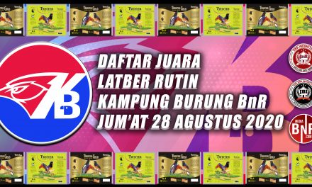 DAFTAR JUARA LATIHAN BERSAMA RUTIN KAMPUNG BURUNG BnR JUM'AT, 28 AGUSTUS 2020