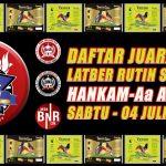 DAFTAR JUARA LATBER RUTIN HANKAM – AA AA BC ENTERPRISE, SABTU 04 JULI 2020
