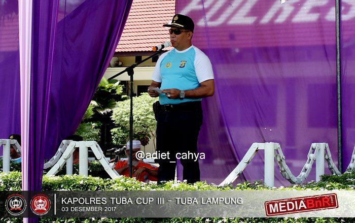 Wakapolres memberikan pidato sambutan dan membuka event Kapolres Tuba Cup III secara resmi