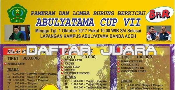 Daftar Juara Abulyatama BC – Banda Aceh (1/10/2017)