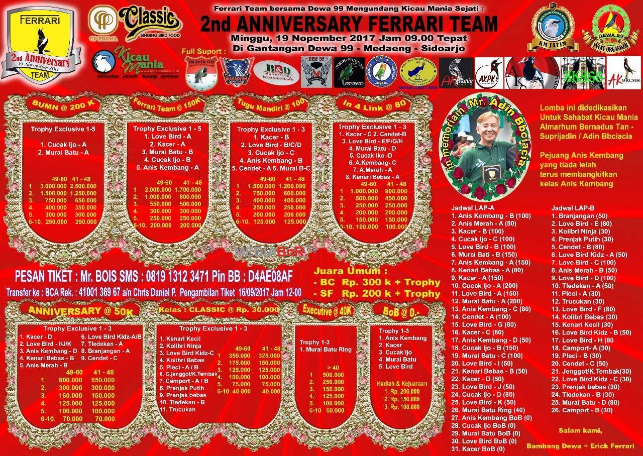 brosur 2nd anniversary ferrari team