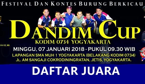 Daftar Juara Dandim Cup – Yogyakarta (7/1/2018)