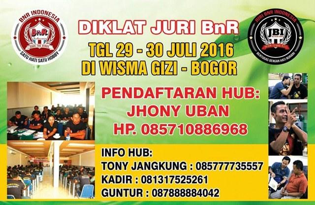 Diklat Juri BnR Indonesia 29 Juli 2016