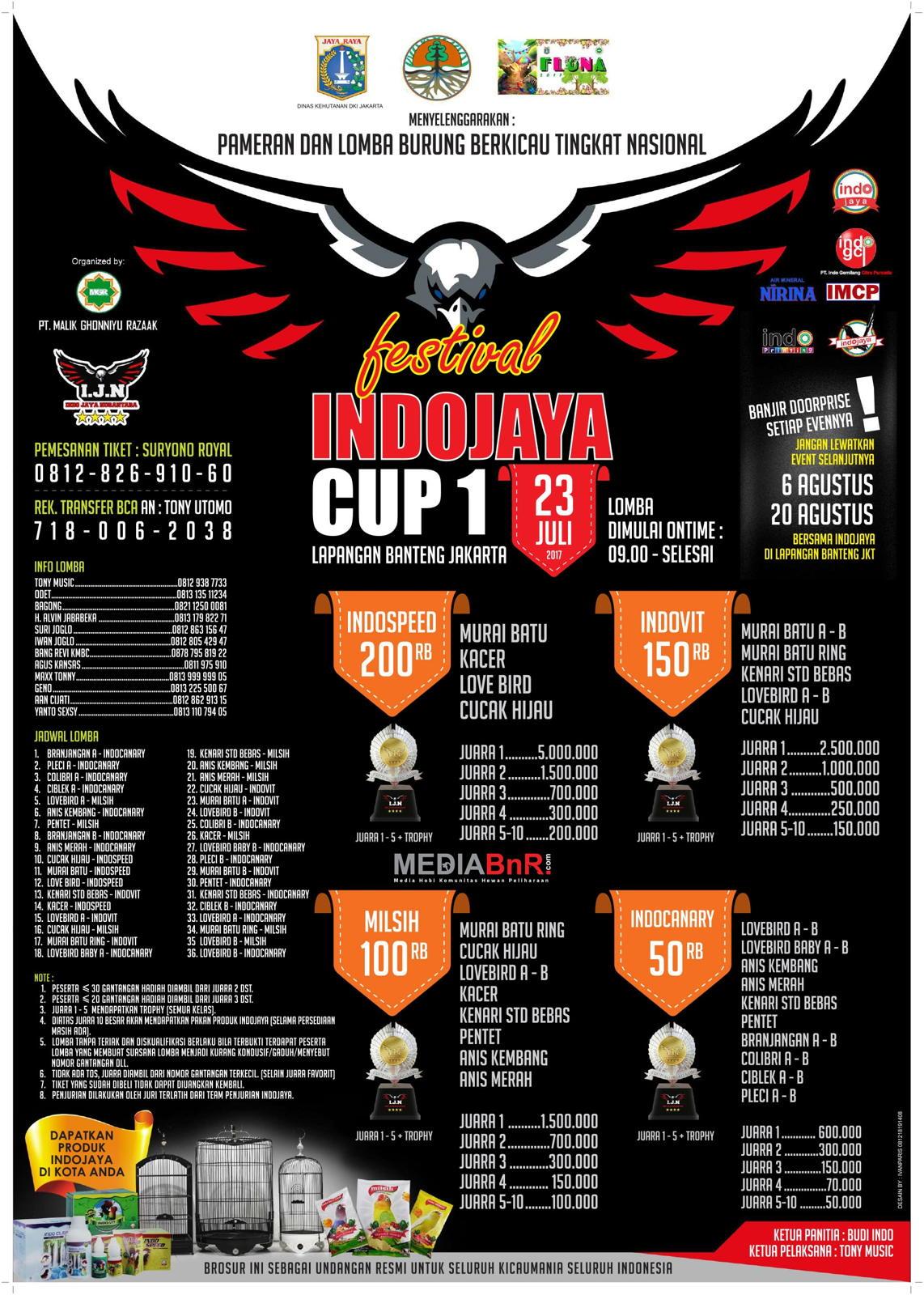 brosur lomba burung berkicau Indo Jaya Cup