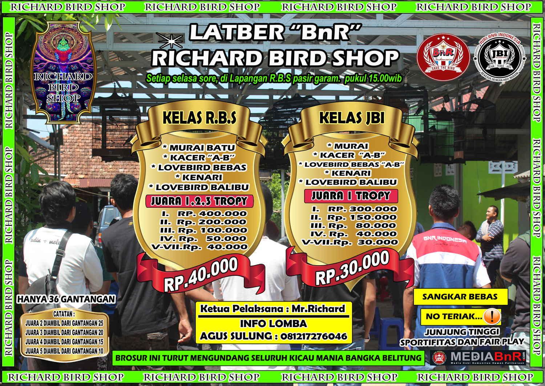 brosur lomba burung berkicau LATBER BnR selasa richard bird shop RBS
