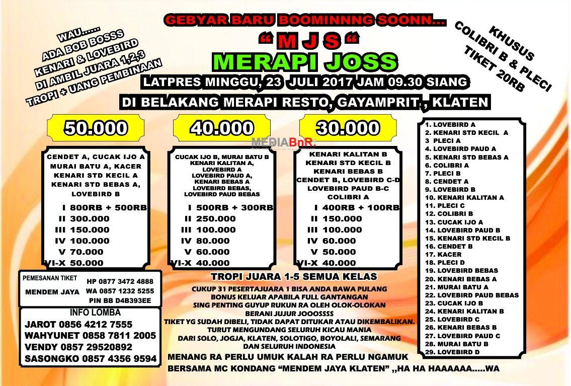 brosur lomba burung kicau  Latpres MJS Klaten 23 Juli 2017