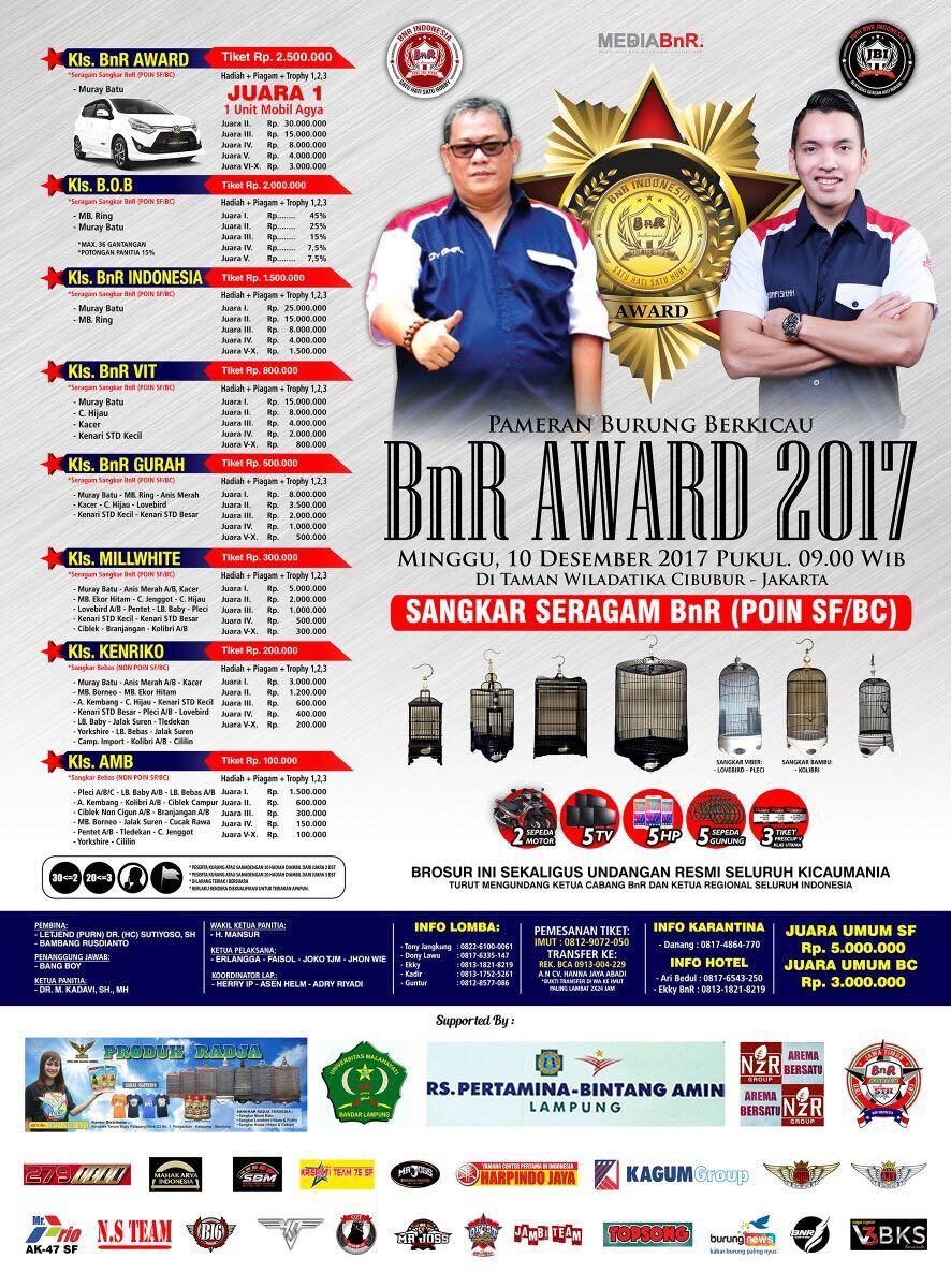 brosur lomba burung kicau bnr award 2017