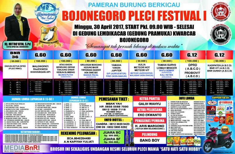 brosur lomba burung kicau bojonegoro pleci festival 1
