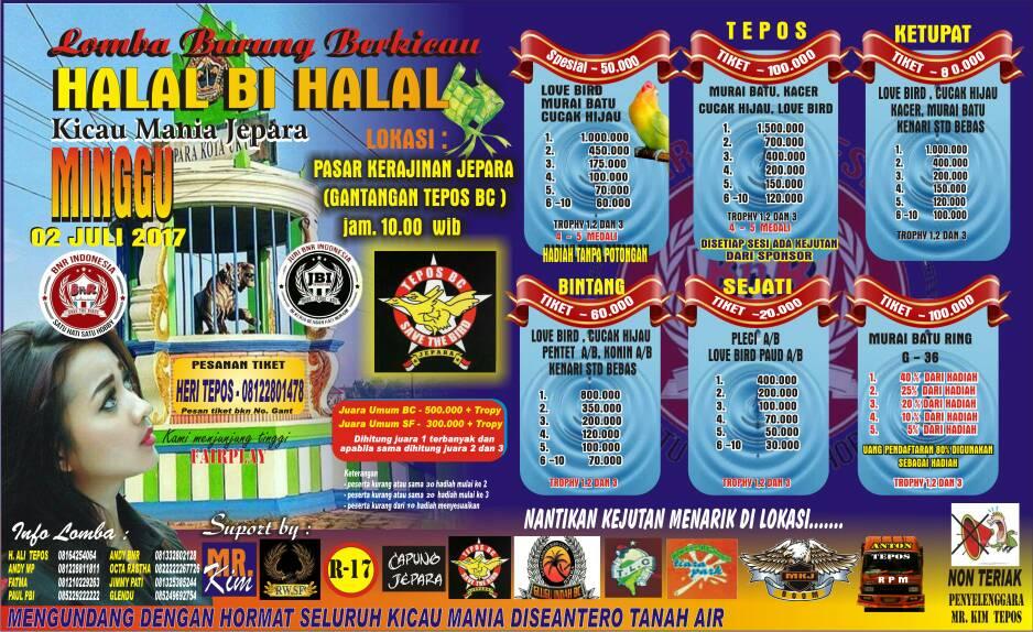 brosur lomba burung kicau halal bu halal kicaumania jepara 2  juli 2017