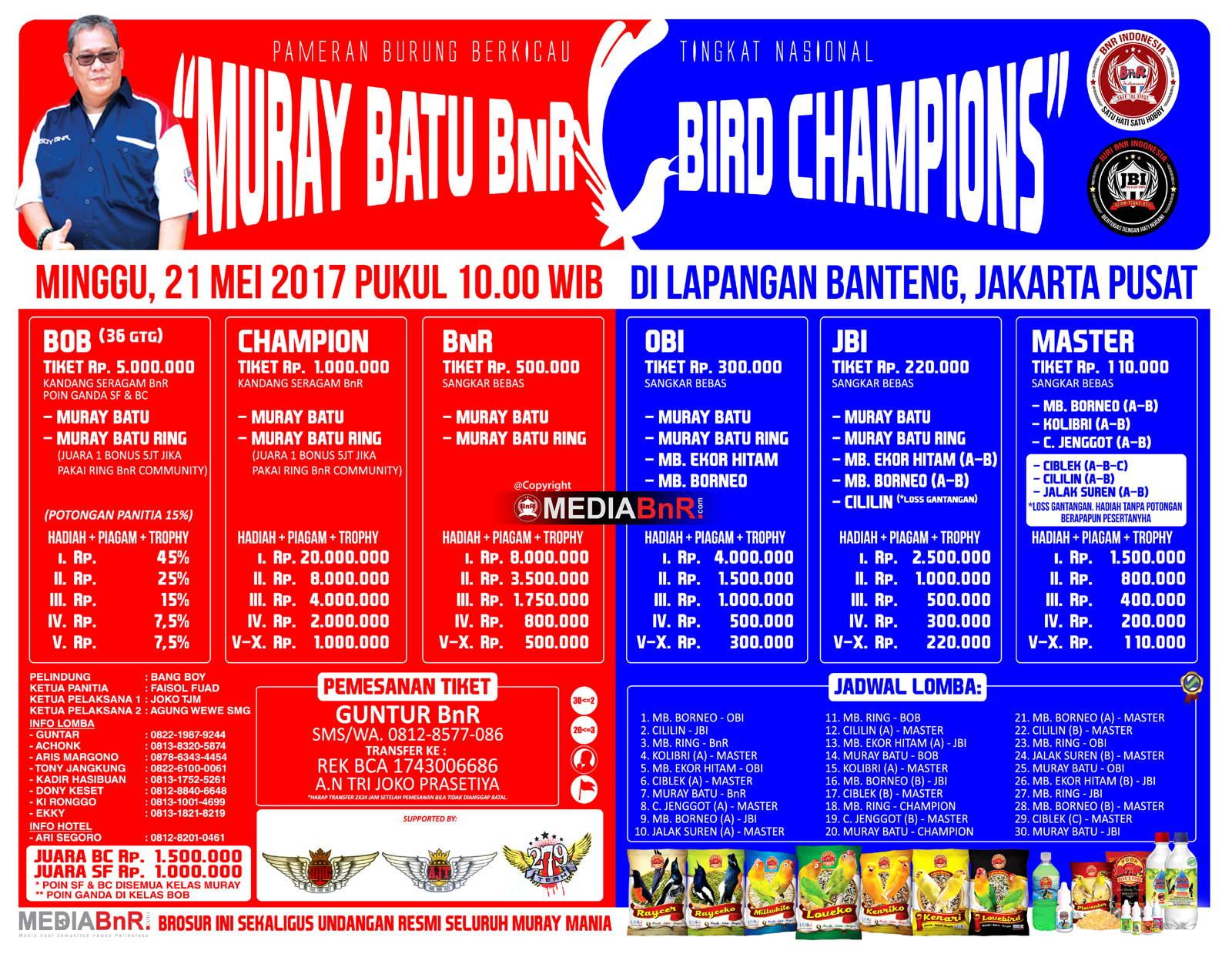 brosur lomba burung kicau murai batu bnr bird champions