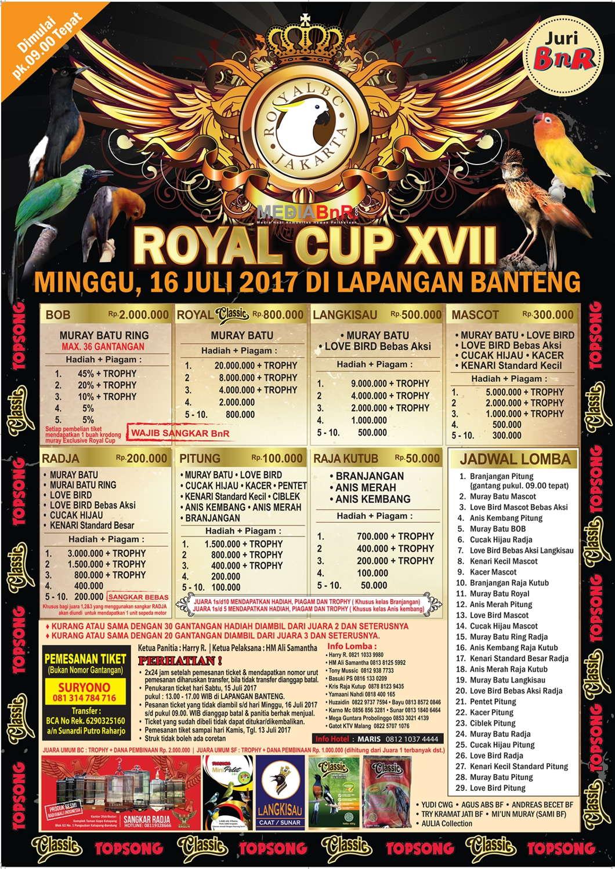 brosur lomba burung kicau royal cup XVII lapangan Banteng 16 Juli