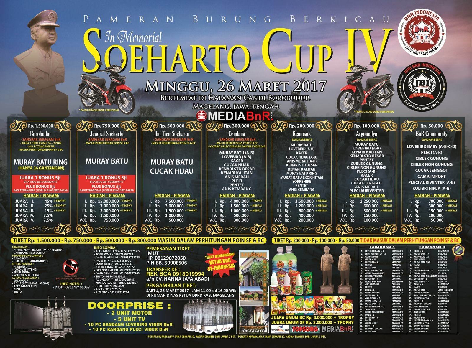 brosur lomba burung kicau soeharto cup borobudur 2017 terbaru