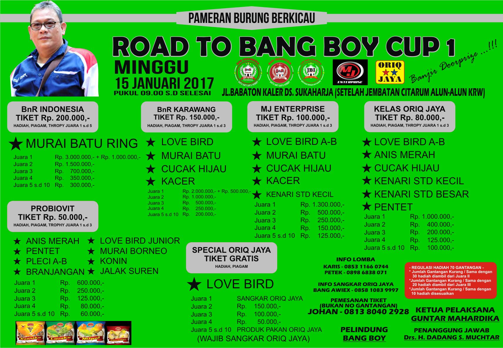 brosur lomba burung road to bang boy cup 1 15 januari 2017