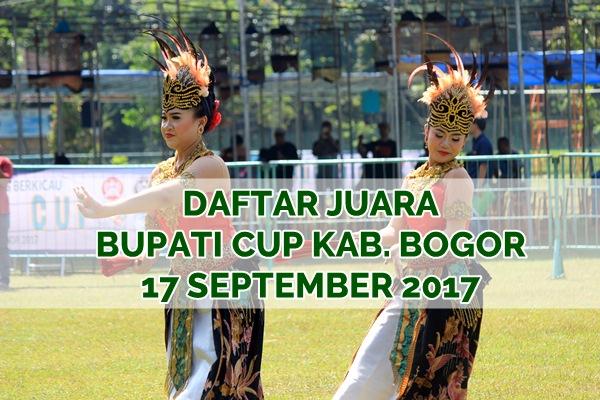 Daftar Juara BUPATI CUP Kabupaten Bogor (17/9/2017)