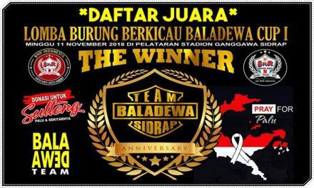 Daftar Juara BALADEWA CUP I (11/11/2018)