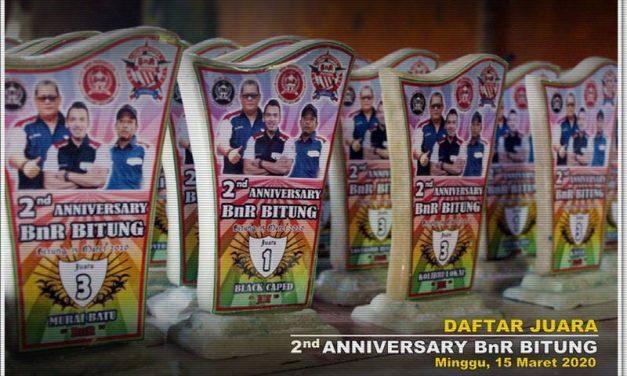 Daftar Juara 2nd Anniversary BnR Bitung (15/3/2020)