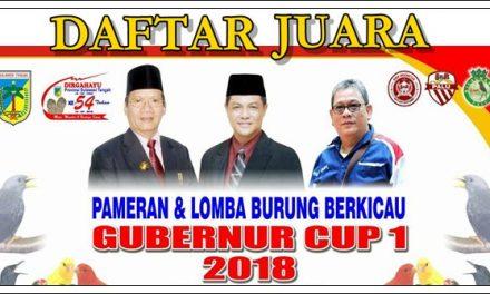 Daftar Juara Gubernur Cup I 2018 – Sulawesi Tengah (15/4/2018)