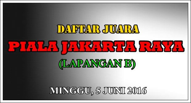 Daftar Juara Piala Jakarta Raya (LAPANGAN B) – (5/6/2016)