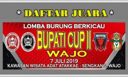 Daftar Juara Bupati CUP Wajo II – Minggu, 7 Juli 2019