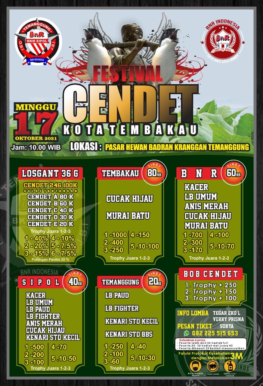 Brosur Festival Cendet Kota Tembakau (17/10/2021)