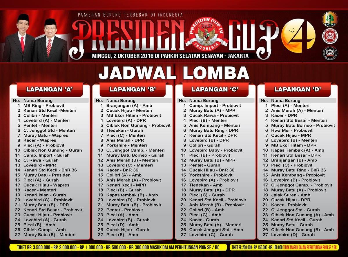 Jadwal Presiden Cup IV 2016