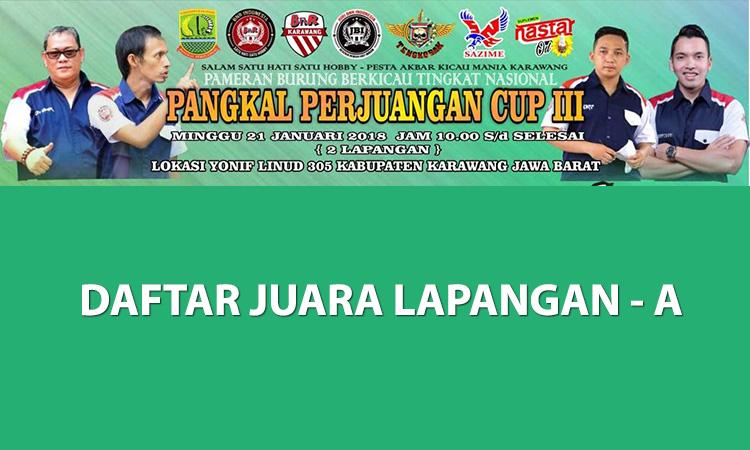 Daftar Juara Pangkal Perjuangan Cup 3 – Lap. A (21/1/2018)